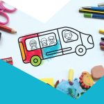 Picture of minibus as if from a colouring in book, partially coloured in and surround by art supplies like pencils, erasers and scissors